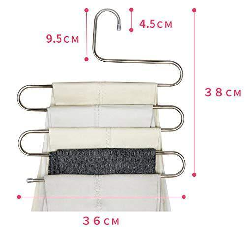 Best seller  lef 3 pack s type stainless steel hangers for space consolidation scarfs closet storage organizer for pants jeans ties belts towels