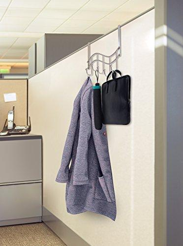 Selection over the door rack with hooks 5 hangers for towels coats clothes robes ties hats bathroom closet extra long heavy duty chrome space saver mudroom organizer by kyle matthews designs