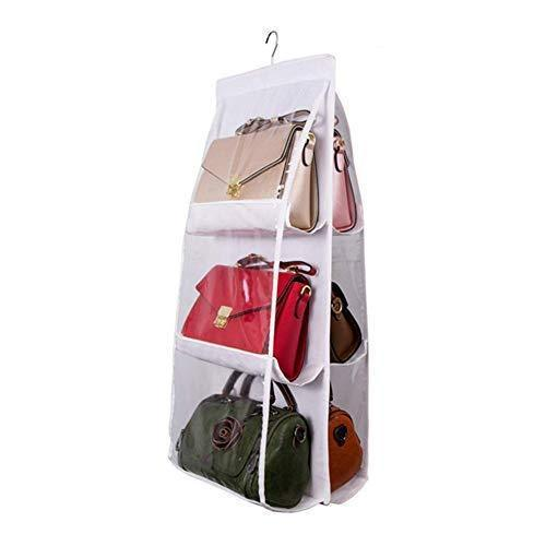 Exclusive wolunwo hanging purse handbag organizer breathable non woven closet storage holder bag with 6 easy access clear pockets white