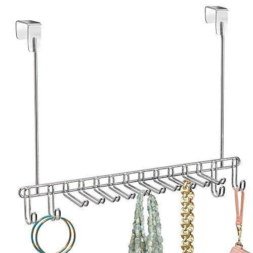 On amazon bochens metal over door hanging closet storage organizer rack for bedroom closet bath holds mens womens ties belts slim scarves jewelry accessories