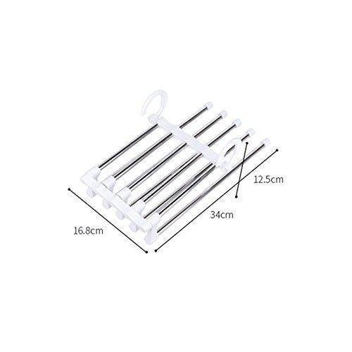 Discover isue set of 2pcs 5 in 1 portable stainless steel clothes pants hangers closet storage organizer for pants jeans hanging 13 38 x 7 2in