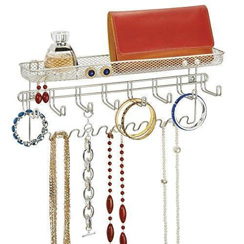 Budget friendly duvtail decorative metal closet wall mount jewelry accessory organizer for storage of necklaces bracelets rings earrings sunglasses wallets