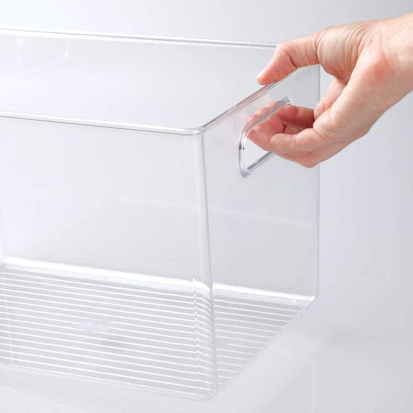 Order now mdesign deep plastic home storage organizer bin for cube furniture shelving in office entryway closet cabinet bedroom laundry room nursery kids toy room 12 x 8 x 8 4 pack clear