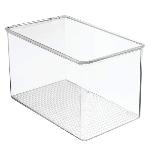 Top rated mdesign stackable closet plastic storage bin box with lid container for organizing mens and womens shoes booties pumps sandals wedges flats heels and accessories 7 high 6 pack clear
