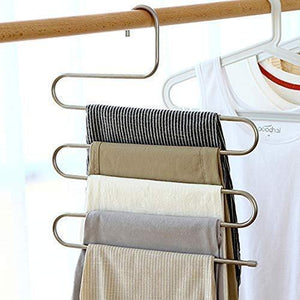 Products ziidoo new s type pants hangers stainless steel closet hangers upgrade non slip design hangers closet space saver for jeans trousers scarf tie 6 piece