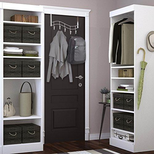 Save over the door rack with hooks 5 hangers for towels coats clothes robes ties hats bathroom closet extra long heavy duty chrome space saver mudroom organizer by kyle matthews designs