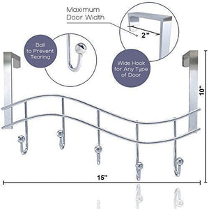 Results over the door rack with hooks 5 hangers for towels coats clothes robes ties hats bathroom closet extra long heavy duty chrome space saver mudroom organizer by kyle matthews designs