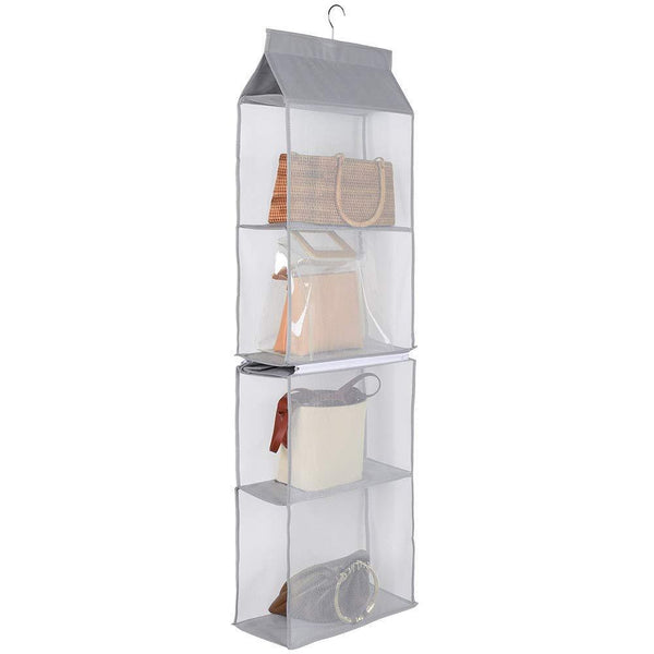 Buy aoolife hanging purse handbag organizer clear hanging shelf bag collection storage holder dust proof closet wardrobe hatstand space saver 4 shelf grey