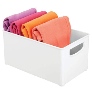 Discover the mdesign deep plastic closet organizer bin storage organizer container with handles for closets bedrooms entryways mudrooms kitchens pantry bathrooms 5 high 4 pack white