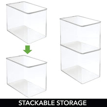 Load image into Gallery viewer, Best mdesign stackable closet plastic storage bin box with lid container for organizing mens and womens shoes booties pumps sandals wedges flats heels and accessories 9 high 6 pack clear
