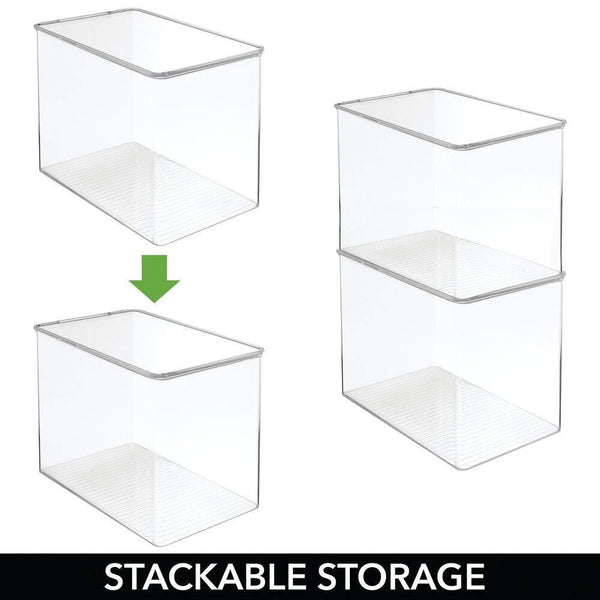 Best mdesign stackable closet plastic storage bin box with lid container for organizing mens and womens shoes booties pumps sandals wedges flats heels and accessories 9 high 6 pack clear