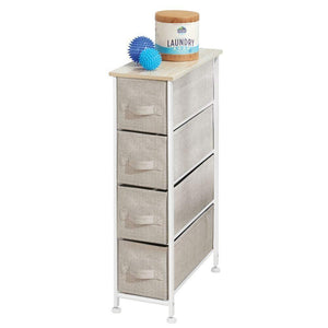 Shop for mdesign narrow vertical dresser storage tower sturdy frame wood top easy pull fabric bins organizer unit for bedroom hallway entryway closets textured print 4 drawers light tan white