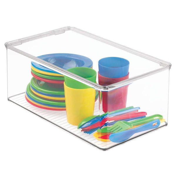 Storage organizer mdesign stackable closet plastic storage bin box with lid container for organizing childs kids toys action figures crayons markers building blocks puzzles crafts 5 high 4 pack clear