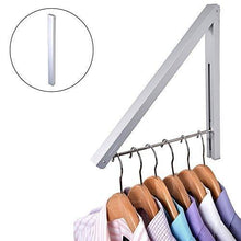 Load image into Gallery viewer, Select nice stock your home folding clothes hanger wall mounted retractable clothes drying rack laundry room closet storage organization aluminum easy installation silver