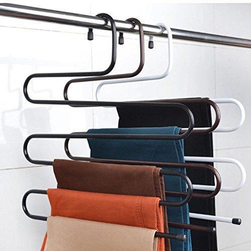 Latest hunger metal multi fonction s shape clothes closet hangers clothing organizer black