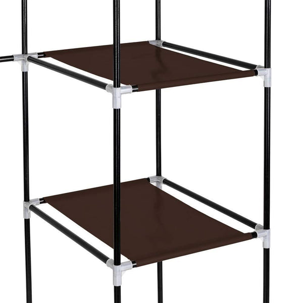 Budget friendly amashion 69 5 tier portable clothes closet wardrobe storage organizer with non woven fabric quick and easy to assemble dark brown
