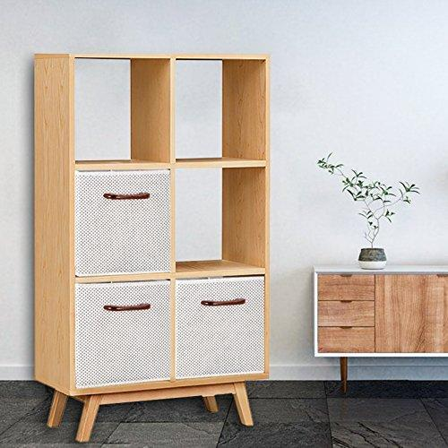 Budget maidmax foldable storage cubes set of 6 decorative fabric storage bins containers organizers drawers with wood handles for shelves clothes closet kids bedroom gray polka dot