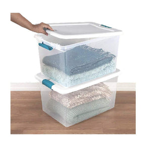 Organize with 60 quart storage containers 6 pack closet lids space saver baskets box stacking bin portable organizer ebook