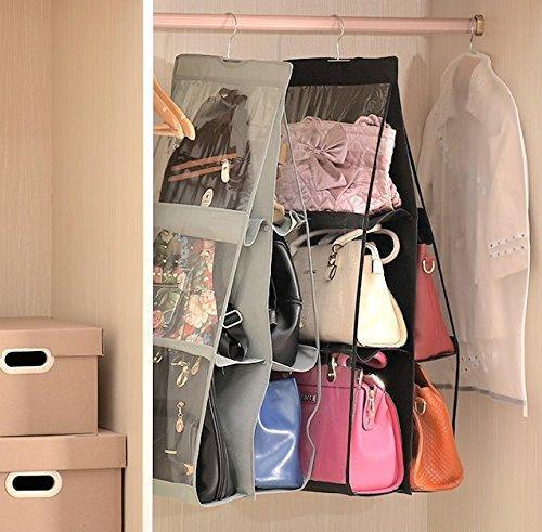 Get geboor hanging handbag organizer dust proof storage holder bag wardrobe closet for purse clutch with 6 larger pockets black