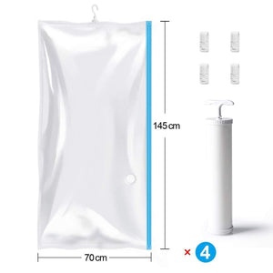Discover the mrs bag hanging vacuum storage bags 4 jumbo57x27 6 space saver bag dress cover with hook for coats jackets clothes closet storage hand pump included