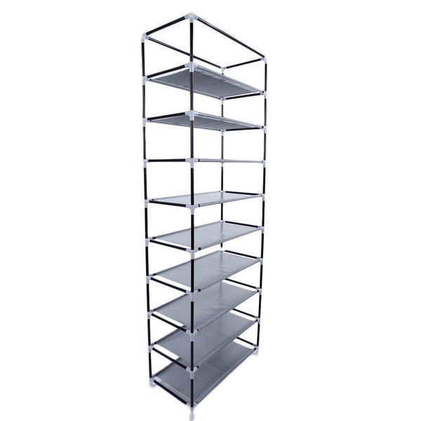 Great civilys 10 tier shoe tower rack with cover 27 pair space saving closet shoe storage boot organizer cabinet us stock black