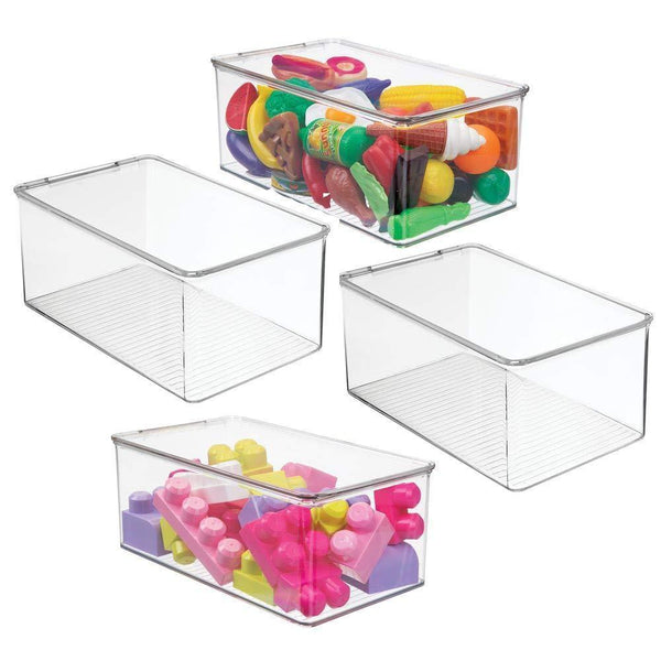 Storage mdesign stackable closet plastic storage bin box with lid container for organizing childs kids toys action figures crayons markers building blocks puzzles crafts 5 high 4 pack clear
