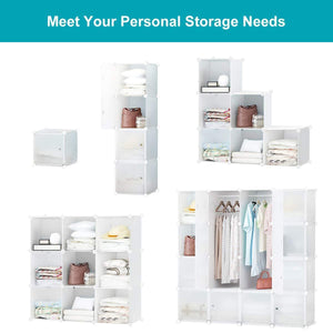 On amazon honey home modular storage cube closet organizers portable plastic diy wardrobes cabinet shelving with easy closed doors for bedroom office kitchen garage 16 cubes white