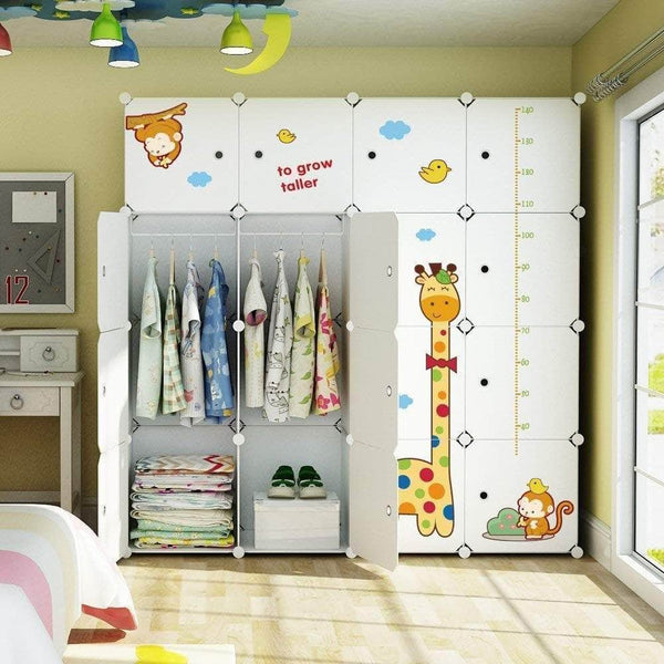 Storage organizer kousi kids dresser kids closet portable closet wardrobe children bedroom armoire clothes storage cube organizer white with cute animal door safety large sturdy 10 cubes 2 hanging sections