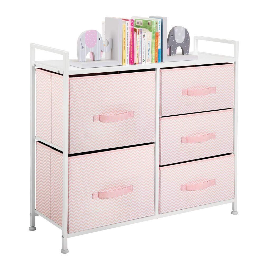 Top mdesign wide dresser storage tower furniture metal frame wood top easy pull fabric bins organizer for kids bedroom hallway entryway closets dorm chevron print 5 drawers pink white