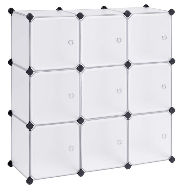 Discover the songmics cube storage organizer 9 cube diy plastic closet cabinet modular bookcase storage shelving with doors for bedroom living room office 36 7 l x 12 2 w x 36 7 h inches white ulpc116wsv1