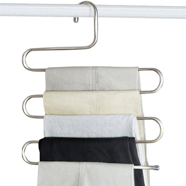Explore peiosendor s type pants hangers multi purpose stainless steel magic closet hangers space saver storage rack for hanging jeans scarf tie family economical storage 3