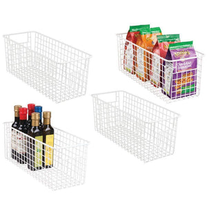 Discover the best mdesign farmhouse decor metal wire food storage organizer bin basket with handles for kitchen cabinets pantry bathroom laundry room closets garage 16 x 6 x 6 4 pack matte white