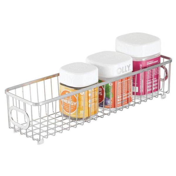 Latest mdesign metal bathroom storage organizer basket bin farmhouse grid design organization for cabinets shelves closets vanity countertops bedrooms under sink x long container 4 pack chrome