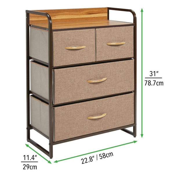 Related mdesign dresser storage chest sturdy metal frame wood top easy pull fabric bins organizer unit for bedroom hallway entryway closet textured print 4 drawers coffee espresso brown