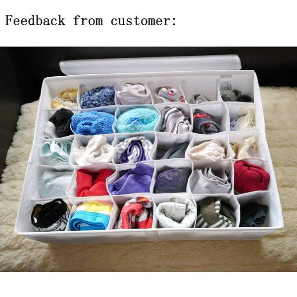 Try soft stone socks and underwear organizer with 30 cell collapsible closets wardrobe organizer folding clothes drawer storage boxes fairy white