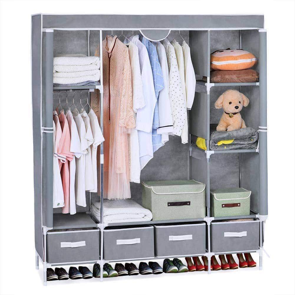 Save portable clothes closet canvas wardrobe closet huge free standing clothes organizer storage with hanging rod dust proof cover 67x58x17 7 inch