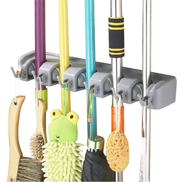Discover home neat mop and broom holder wall mount garden tool storage tool rack storage organization for the home plastic hanger for closet garage organizer shed organizer 5 position