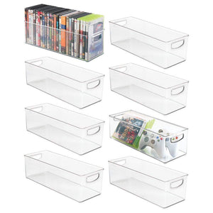 Buy now mdesign plastic stackable household storage organizer container bin with handles for media consoles closets cabinets holds dvds video games gaming accessories head sets 8 pack clear