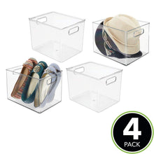 Load image into Gallery viewer, Shop for mdesign plastic home storage basket bin with handles for organizing closets shelves and cabinets in bedrooms bathrooms entryways and hallways 4 pack clear