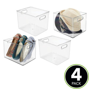 Shop for mdesign plastic home storage basket bin with handles for organizing closets shelves and cabinets in bedrooms bathrooms entryways and hallways 4 pack clear