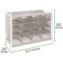 Load image into Gallery viewer, New mdesign soft fabric shoe rack holder organizer 16 cube storage shelf for closet entryway mudroom garage kids playroom metal frame easy assembly closet organization linen white