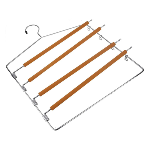 Exclusive takoyi clothes pants hangers space saving non slip trouser hangers stainless steel multi layer metal pant hangers foam padded swing arm pants hangers closet storage organizer orange 4 pack