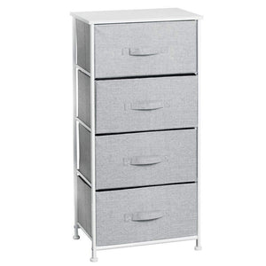 Amazon mdesign vertical furniture storage tower sturdy steel frame wood top easy pull fabric bins organizer unit for bedroom hallway entryway closets textured print 4 drawers gray white