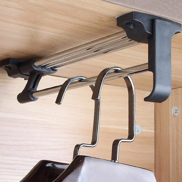Try zjchao heavy duty retractable closet pull out rod wardrobe clothes hanger rail towel ideal for closet organizer polished chrome 30cm 11 8 inches