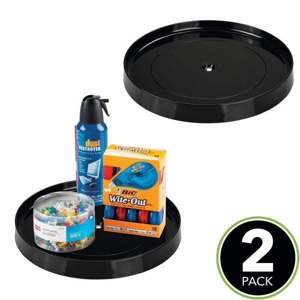 Shop mdesign plastic spinning lazy susan turntable tray container for desktop drawer closet rotating organizer for home office supplies erasers colored pencils 11 25 round 2 pack black