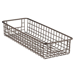 Exclusive mdesign household wire drawer organizer tray storage organizer bin basket built in handles for kitchen cabinets drawers pantry closet bedroom bathroom 16 x 6 x 3 8 pack bronze