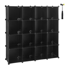 Load image into Gallery viewer, Results songmics cube storage organizer 16 cube book shelf diy plastic closet cabinet modular bookcase storage shelving for bedroom living room office 48 4 l x 12 2 w x 48 4 h inches black ulpc44bk