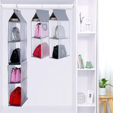 Load image into Gallery viewer, Save on keepjoy detachable hanging handbag organizer purse bag collection storage holder wardrobe closet space saving organizers system pack of 2 grey