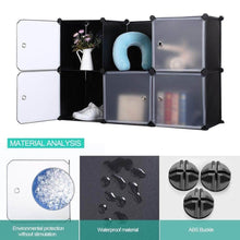 Load image into Gallery viewer, Home robolife 12 cubes organizer diy closet organizer shelving storage cabinet transparent door wardrobe for clothes shoes toys