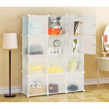Load image into Gallery viewer, Discover the best honey home modular storage cube closet organizers portable plastic diy wardrobes cabinet shelving with easy closed doors for bedroom office kitchen garage 12 cubes white